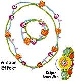 alles-meine.de GmbH 2 TLG. Set _ Kette + Armband -  Blumen & Schmetterlinge - bunt  - aus Holz - Schmuck / Perlenkette - Bunte Holzperlen / Perlen - Kinderschmuck - Halskette -..
