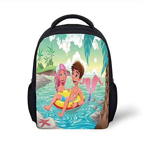 Kids School Backpack Mermaid,Teen Boy and Cute Mermaid Swimming Together in The Tropical Island Funny Love Illustration Decorative,Multi Plain Bookbag Travel Daypack (Cute Teen Boy)