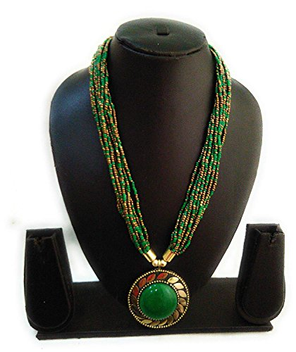 Zohra Collections Green Glass Stylish Gold-Plated Tibetan Stone Beads Pendant Necklace for Women(Green)