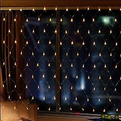 IMAGE 4,5m * 1,5m 300 LED Guirlande Lumineuse Filet Rideau de Lumière Féeriques Eclairage Décoration Bonne Luminosité et Faible Puissance avec 8 Modes de Fonctionnement Pour Fête Mariage Blanc Chaud