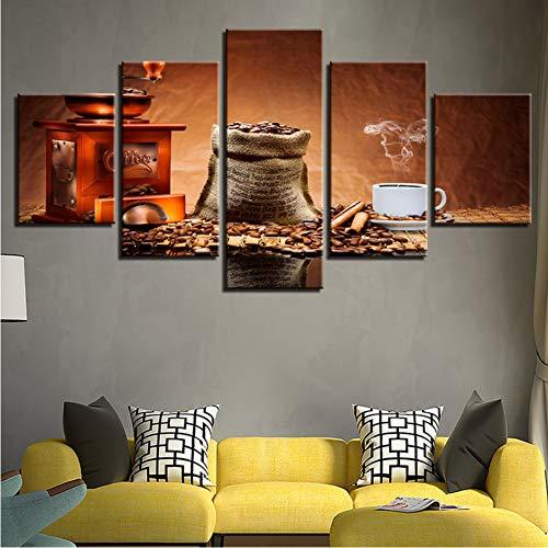 syssyj (Kein Rahmen) Modulare Leinwand Bilder Home Decor Hd Drucken 5 Stücke Kaffeebohnen Malerei Kaffee Aroma Cup Poster Restaurant Wandkunst