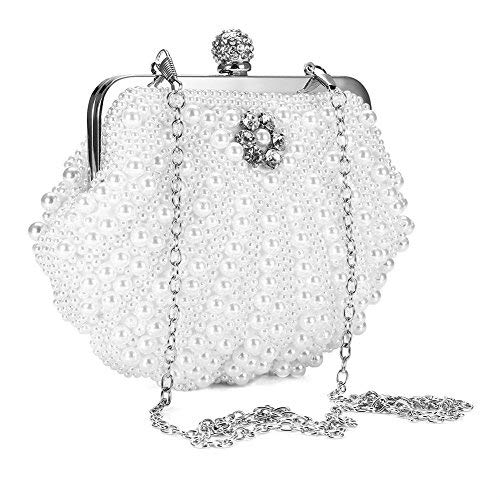 Yotown Modische Handtasche, Modische Faux Perle Strass Hochzeit Braut Brautjungfer Abend Handtasche Party Clutch Bag(Weiß)
