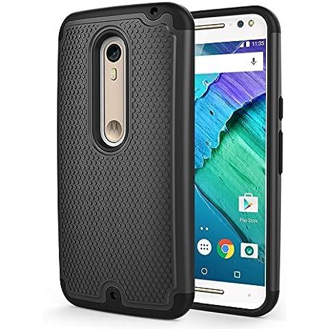 Moto X Style (Pure Edition) Phone Funda - MoKo [Anti Drop] Hard Polycarbonate + Silicone Protector Bumper Funda para Moto X Style 5.7 Inch 2015 Smartphone, Negro (Not for Moto X Previous
