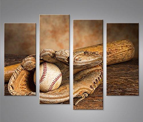 Bild Bilder auf Leinwand Baseball 4er XXL Poster Leinwandbild Wandbild von islandburner - art up your life ® (Baseball Leinwand)