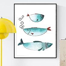 """Lámina para enmarcar """"TRES PECES"""" . Poster con imagen de peces para los amantes del mundo MARINO. Poster TONOS AZULES. Lámina impresa en papel 250 gramos alta calidad y tintas resistentes. Tamaño A4. Producto de diseño."""
