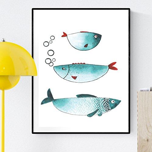 Nacnic Lámina para enmarcar Tres Peces Poster con Imagen de Peces para los Amantes del Mundo Marino. Poster Tonos Azules. Tamaño A4