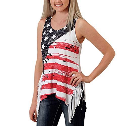 che Bluse TOP Frauen ärmellose Sterne Flagge Print Quasten Weste Shirt Tops für 4. Juli ()