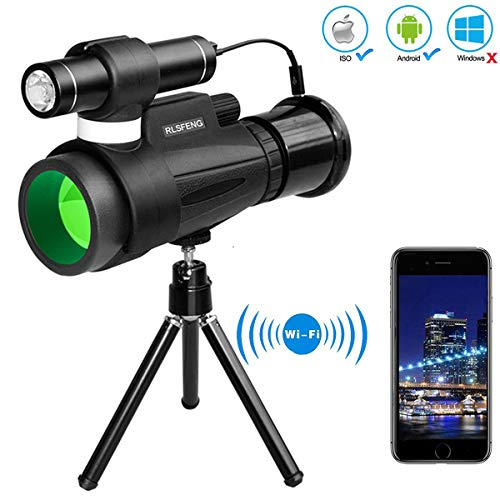 RDJM 12x50 HD Night Vision Monocular Telescope-mit WiFi Connect mit IOS und Android Smartphone APP, für Birdwatching Hunting Camping Sightseeing [2019]