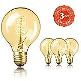 Edison Vintage Glühbirne SEALIGHT dekorative Retro Lampe Glühlampe Warmweiß E27 60W G80 Antike Stil Beleuchtung dimmbar Licht Bulb mit Squirrel Cage Filament Ideal für Haus Café Bar (3 Stücke)