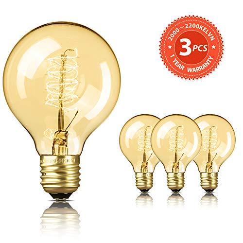 SEALIGHT Edison Vintage Glühbirne 3er Dimmbar Glühlampe Warmweiß E27 60W G80 Nostalgie Globe Retro Birne Dekorative Bulb Antike Stil Beleuchtung mit CE/ROHS Zertifizierung Ideal für Haus Café Bar