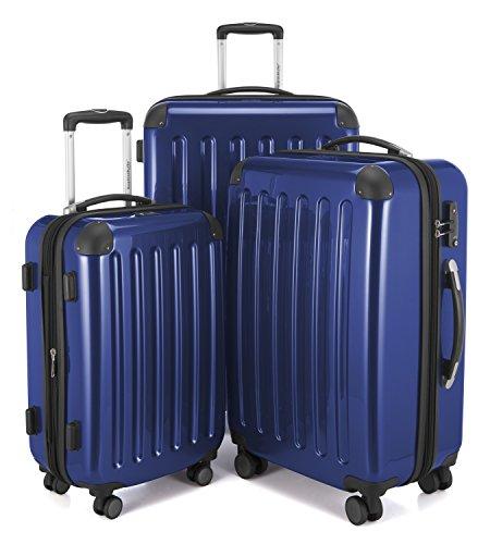 HAUPTSTADTKOFFER - Alex -  4 Doppel-Rollen 3er Koffer-Set Trolley-Set Rollkoffer Reisekoffer, TSA, (S, M & L), Dunkelblau