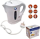 1 Litre White 900w Electric Cordless Kitchen Kettle Caravan Travel Hot Water Jug - Overheat Thermostat [Energy Class A]