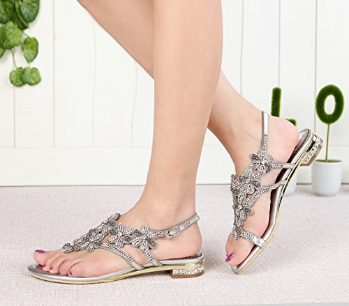 Honeystore Neuheiten Funkelnde Glitzer Niederiger Absatz Sandalen mit Strass Kristall Schuhe Silber