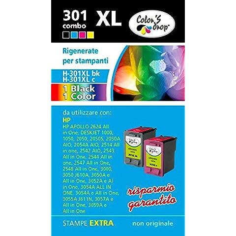 HP 301XL bk + 301 XL col Combo pack cartucce rigenerate  alta capacità