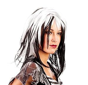 Ciao-Peluca rock Party lisa, Mujer, blanca y negra