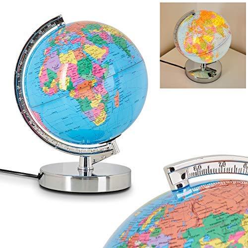Globe terrestre lumineux Globus en métal chromé et plastique avec variateur d'intensité tactile 3 niveaux, requière une ampoule E14 max 30 Watt, idéale pour une chambre d'enfant