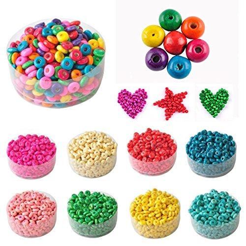 ILOVEDIY En Gros Lot de 1000 perles rondes en bois 5.5x3mm charms bijoux loisirs créatifs Pas Cher (couleur mélangée)