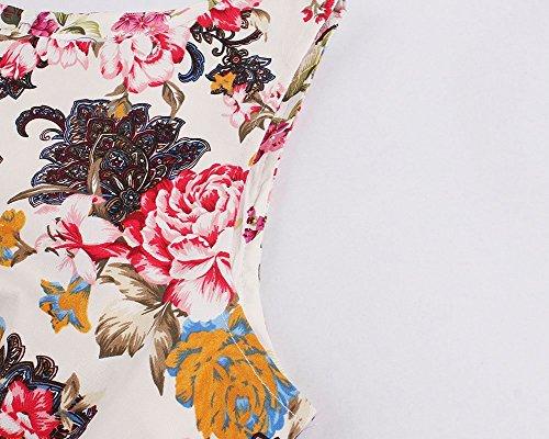 YiLianDa Robe de soirée Cocktail Courte Rétro Vintage année 1950 sans Manches avec lImpression Fleur Gros Fleur