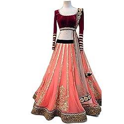 Jay Varudi Creation Women's Pink Embroidered Net Free Size Semi-Stiched Lehenga Choli With Blouse Chaniya Choli (SC12_Pink_Free_Size)
