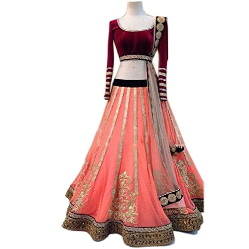 Jay Varudi Creation Women\'s Pink Embroidered Net Free Size Semi-Stiched Lehenga Choli With Blouse Chaniya Choli (SC12_Pink_Free_Size)
