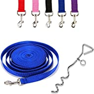 "Ardisle Dog Camping Ground Garden Tie Out Screw Stake Spike Post Anchor 10ft Cable Lead Metal Spiral Spike 16"" Screw Down Camping Dog Pet lead Garden Anchor Tie Up otating Dog Tie Out/Leash/Stake for Travel, Outdoor Enthusiasts, Camping, Sporting"