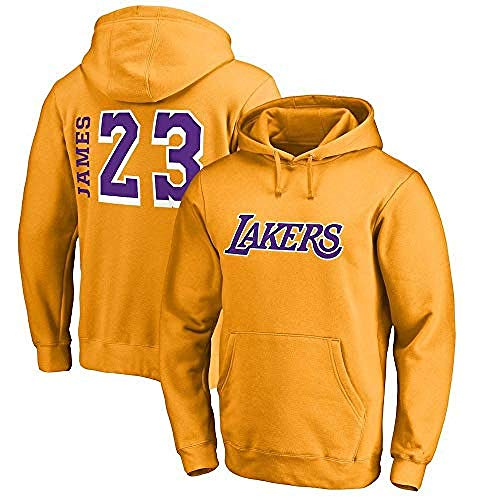 Hdezzz NBA Hoodie LA Lakers James # 23 Herren Jersey Langarm T-Shirt Bedrucktes Kapuzen Top Lässig Bequemes Sweatshirt @ 3XL_Yellow