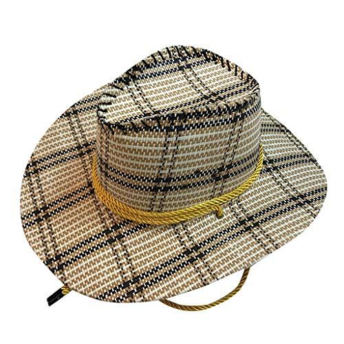 LLonGao Mode Unisex Western Cowboy-Hut Für Gentleman Sombrerowide Brim Strohkappe Gitter Cowboy-Strohhut Mode Urlaubsstil Zylinderhut - Hüte Urban Cowboy Hüte