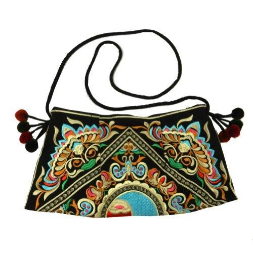 BenThai Products BTP! HMONG Bag Swingpack Hill Tribe Ethnic Stickerei Sling Crossbody Hippie Hobo Schultergeldbörse, Schwarz (Black Hmsp9), Medium -
