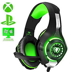 ShinePick Gaming Headset, Headset für Xbox One PS4, 3.5mm LED Licht Bass Stereo mit Weich Mikrofon Kopfhörer für PS4 Xbox One Nintendo Switch PC Laptop Mac Handy Tablet (Blau-2)