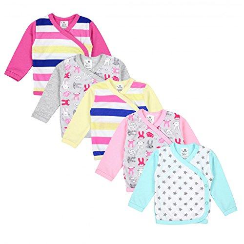 TupTam Baby Mädchen Langarm Wickelshirt Baumwolle 5er Set, Farbe: Mehrfarbig 3, Größe: 68