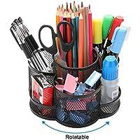 Ibeans Multifonction Pot /à Crayons Organiseur De Bureau Porte Crayon Et Stylo Bureau Organisateur De Fournitures De Bureau Maille De Rangement En M/éTal Rose vif