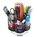 Porte-crayons bureau rotatif, Porte-stylo en métal pour le bureau avec tapis en caoutchouc antidérapant, rotation à 360 ° et 7 compartiments, organiseur de rangement pour fournitures de bureau, Noir