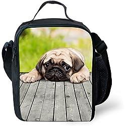 showudesigns–Impresión Animal Perro Carlino fiambrera bolsa para el almuerzo, poliéster, Color 4, small