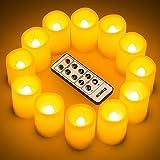 Set di 12 candele a LED con Controllo Remoto Timer, Candele Inodore senza Fiamma , Dia. Altezza 3.8 cm x 4.8 cm, Candele Operative a Batteria, Decorazioni Natalizie / Matrimonio