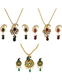 Fasherati Traditional Multicolored Pendant Sets For Women (Combo Of 3 Sets)