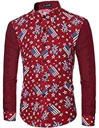 BUSIM Men's Long Sleeved Shirt Youth Good Fashion Casual Spot Print Slim Personality Shirt T-Shirt Trend Breathable