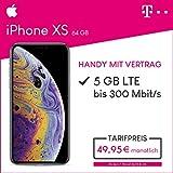 Apple iPhone XS (silber) 64GB Speicher Handy mit Vertrag (Telekom Magenta Mobil M) 5GB Datenvolumen 24 Monate Mindestlaufzeit