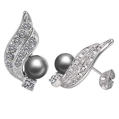 [El estilo popular] Yoursfs-Amazon pendientes encantador de Austria cristales y perlas artificiales de alas de ángel Pendientes chapado en oro blanco para mujeres