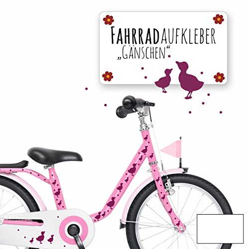 ilka parey wandtattoo-welt® Fahrradaufkleber Fahrradsticker Aufkleber Sticker Fahrraddeko Gänse Entchen mit Punkten M1889 - ausgewählte Farbe: *weiß*
