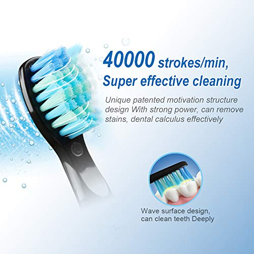 51sReoFNDlL - Electric Toothbrush Adult Timer Brush USB Charge Rechargeable Tooth Brushes with 3Pcs Replacement Heads,Black