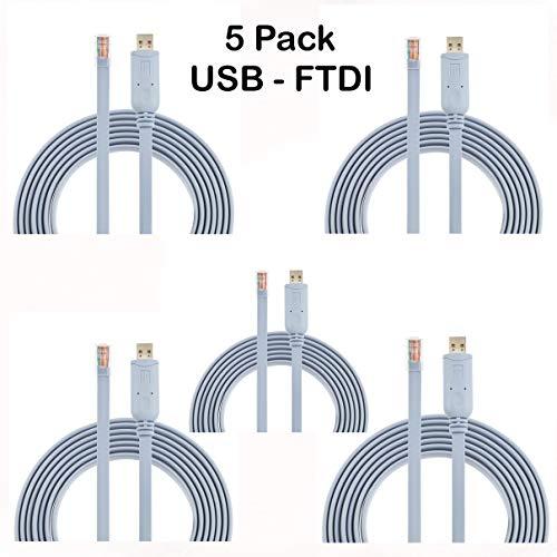 AGS Cisco-Konsolenkabel, USB auf RJ45-1,8 m, FTDI-Chip, ersetzt USB zu DB9 + 72-3383-01, kompatibel mit Windows 10, 8, 7, Vista, MAC, Linux RS232, 5 Stück - Rj 45-db9