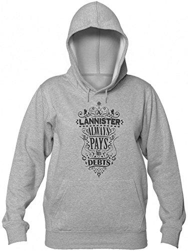 A Lanister Always Pays His Debts Fancy Design Women's Hooded Sweatshirt Large Grey
