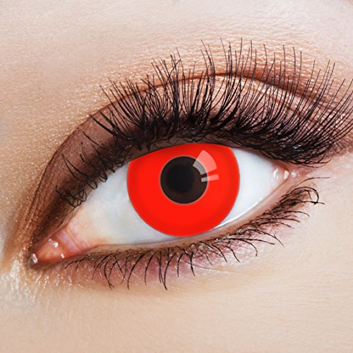 aricona Kontaktlinsen Farblinsen - deckend rot - farbige Vampir Kontaktlinsen- bunte, farbig intensive rote Jahreslinsen für Halloween & Cosplay