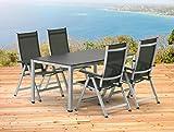 Kettler BASEL Gartenmöbel 1 Tisch 140 cm und 4 Klappsessel in silber anthrazit