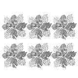 LIOOBO weihnachtsstern Blumen künstlicher Kranz Blumen für weihnachtsbaumschmuck 6 stück (Silber)