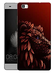"Humor Gang Lion Red Printed Designer Mobile Back Cover For ""Huawei P8"" (3D, Matte Finish, Premium Quality, Protective Snap On Slim Hard Phone Case, Multi Color)"