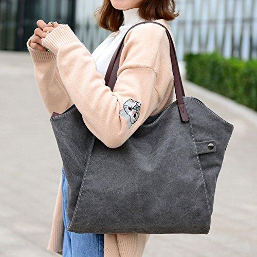 Damen Umhängetasche Mode Schultertasche Leinwand Handtasche Canvas Tasche Alltag Freizeittasche für Frauen Grau
