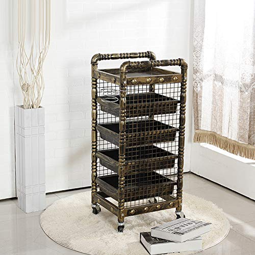 DANTB Salon Spa Golden Retro Friseur Trolley 5 Tiers Lagerung Cart Färbung Salon Friseur Halter Mit 5 Schubladen Für Werkzeug