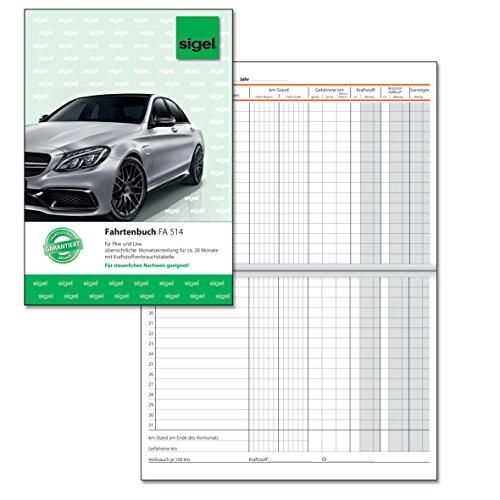 SIGEL FA514 Fahrtenbuch für PKW und LKW, A5, 32 Blatt - für Deutschland und Österreich