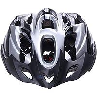 Casco - SODIAL(R)Casco de carbono hermoso de bicicleta para mujeres hombres adultos con visera de plata
